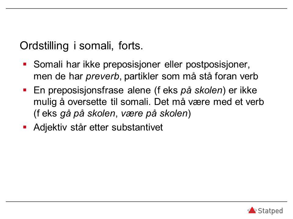 Ordstilling i somali, forts.  Somali har ikke preposisjoner eller postposisjoner, men de har preverb, partikler som må stå foran verb  En preposisjo