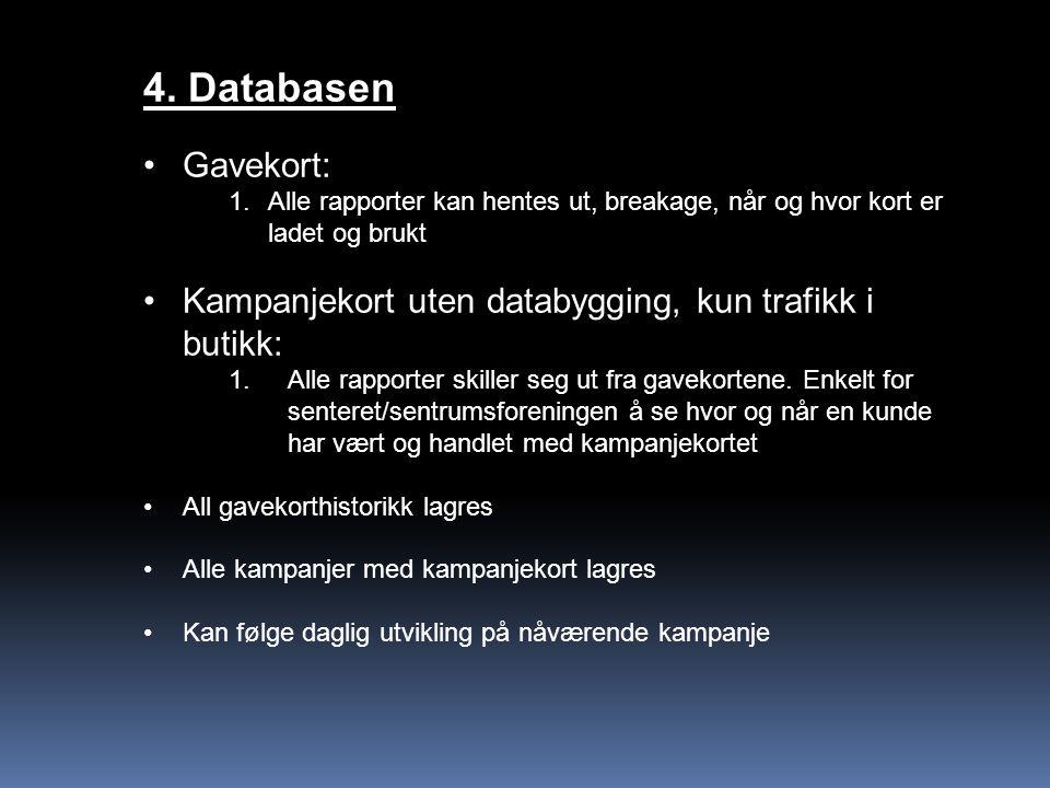 4. Databasen Gavekort: 1.Alle rapporter kan hentes ut, breakage, når og hvor kort er ladet og brukt Kampanjekort uten databygging, kun trafikk i butik