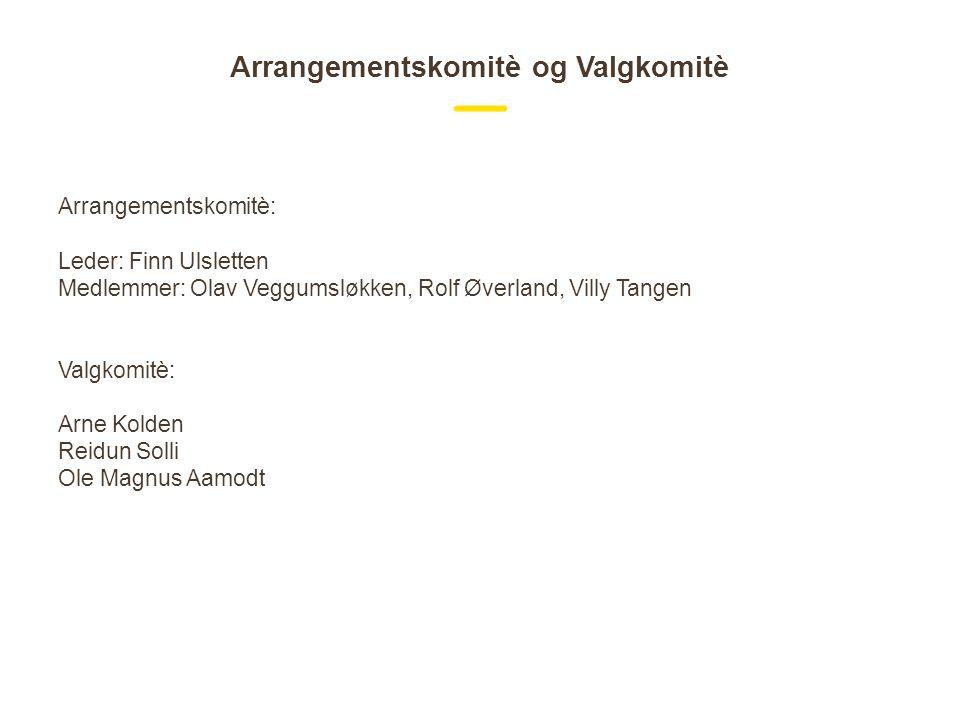 Arrangementskomitè og Valgkomitè Arrangementskomitè: Leder: Finn Ulsletten Medlemmer: Olav Veggumsløkken, Rolf Øverland, Villy Tangen Valgkomitè: Arne Kolden Reidun Solli Ole Magnus Aamodt