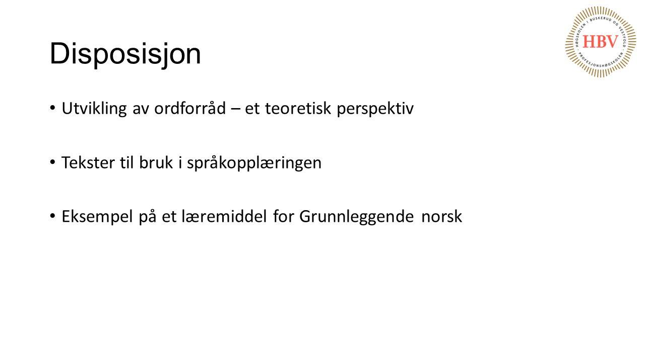 Disposisjon Utvikling av ordforråd – et teoretisk perspektiv Tekster til bruk i språkopplæringen Eksempel på et læremiddel for Grunnleggende norsk