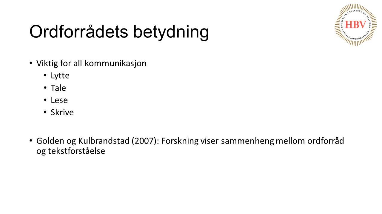 Ordforrådets betydning Viktig for all kommunikasjon Lytte Tale Lese Skrive Golden og Kulbrandstad (2007): Forskning viser sammenheng mellom ordforråd
