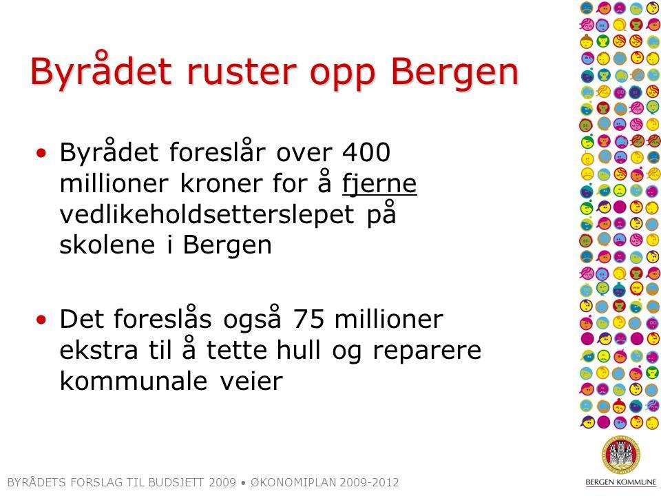 Byrådet ruster opp Bergen Byrådet foreslår over 400 millioner kroner for å fjerne vedlikeholdsetterslepet på skolene i Bergen Det foreslås også 75 millioner ekstra til å tette hull og reparere kommunale veier BYRÅDETS FORSLAG TIL BUDSJETT 2009 ØKONOMIPLAN 2009-2012