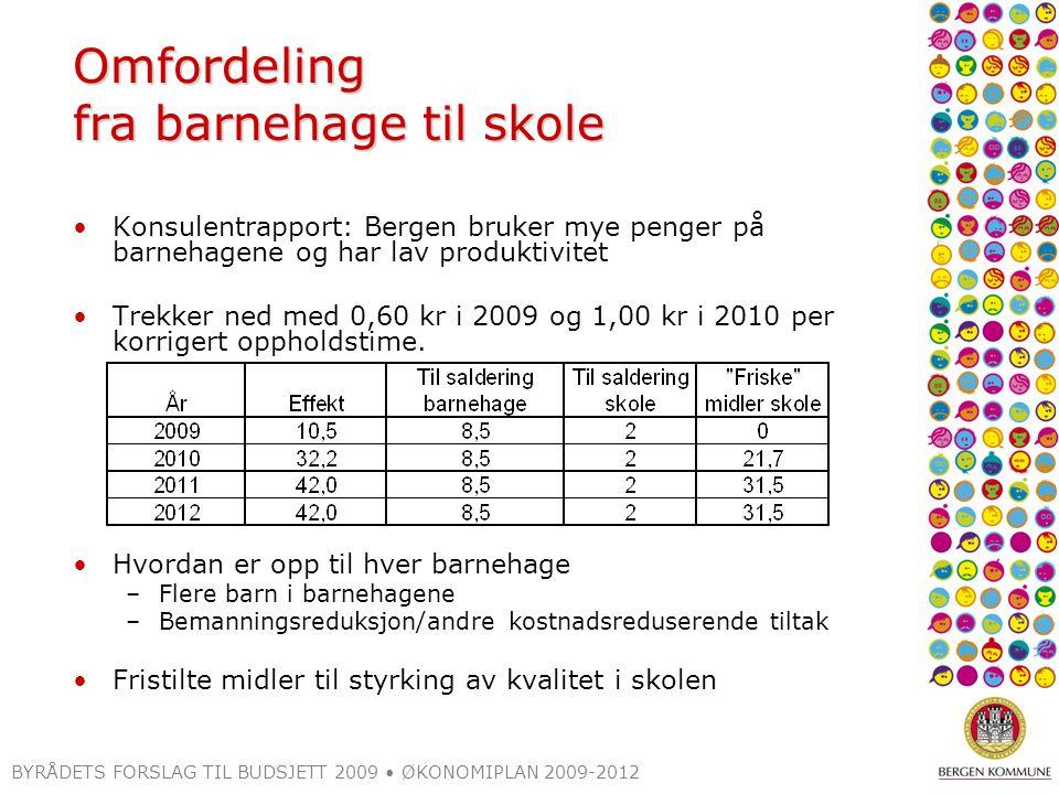 BYRÅDETS FORSLAG TIL BUDSJETT 2009 ØKONOMIPLAN 2009-2012 Omfordeling fra barnehage til skole Konsulentrapport: Bergen bruker mye penger på barnehagene