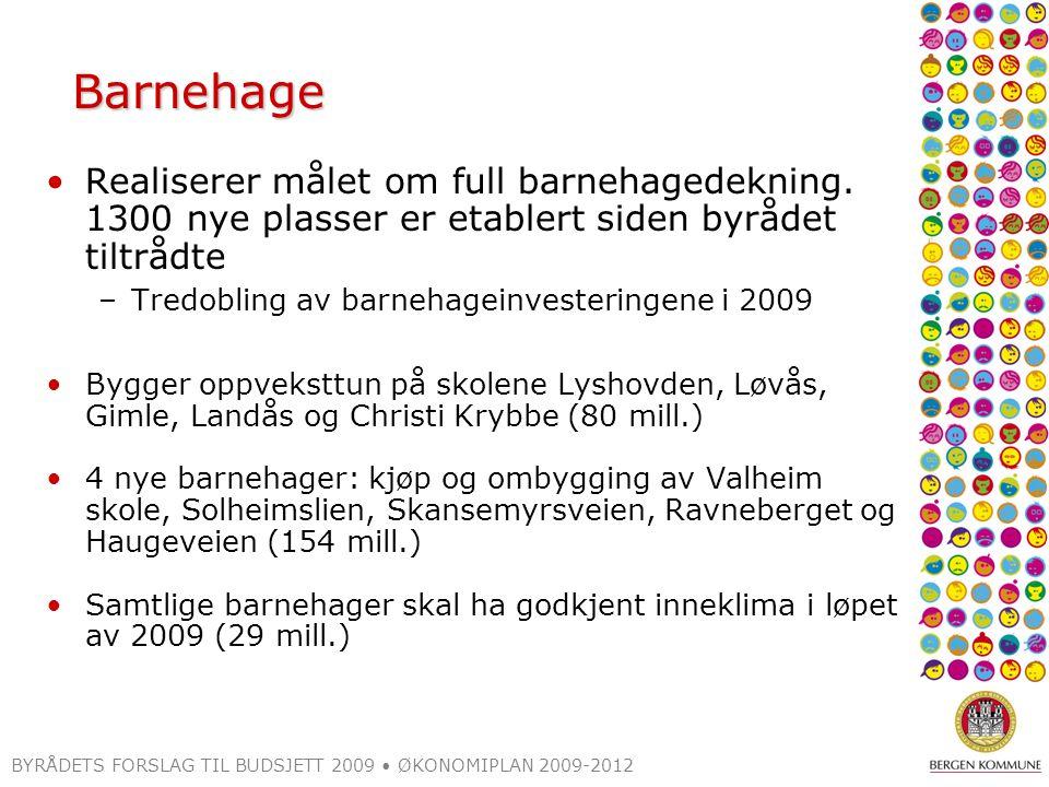 BYRÅDETS FORSLAG TIL BUDSJETT 2009 ØKONOMIPLAN 2009-2012 Barnehage Realiserer målet om full barnehagedekning. 1300 nye plasser er etablert siden byråd