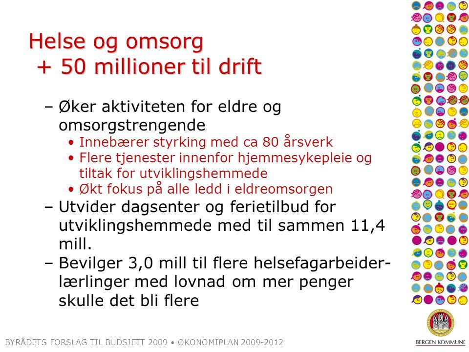 BYRÅDETS FORSLAG TIL BUDSJETT 2009 ØKONOMIPLAN 2009-2012 Helse og omsorg + 50 millioner til drift –Øker aktiviteten for eldre og omsorgstrengende Inne