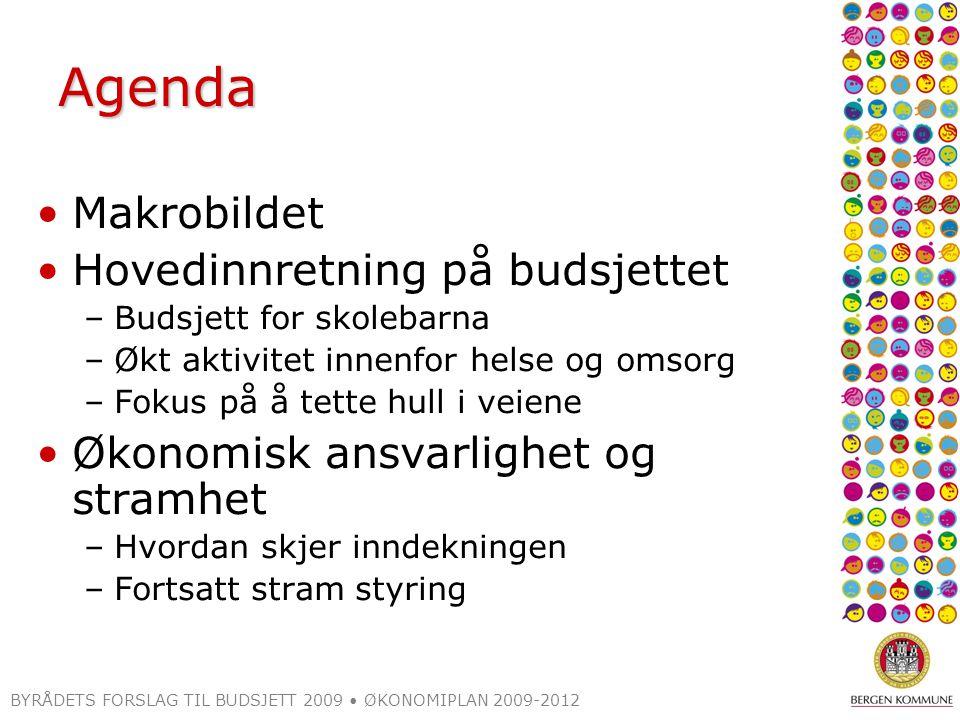 Agenda Makrobildet Hovedinnretning på budsjettet –Budsjett for skolebarna –Økt aktivitet innenfor helse og omsorg –Fokus på å tette hull i veiene Økon