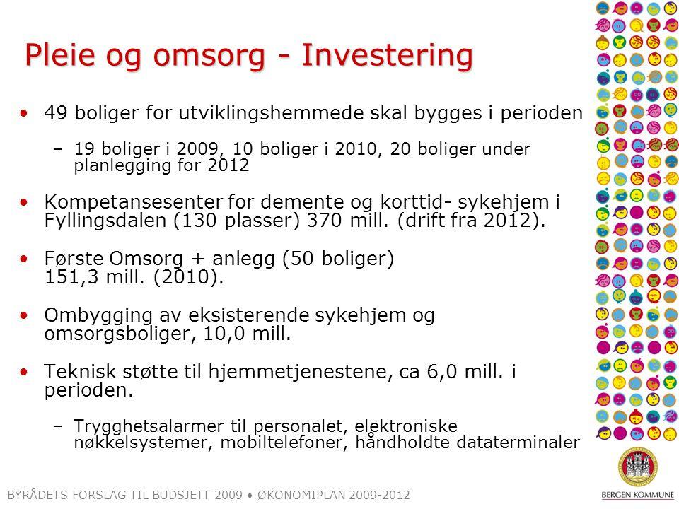 BYRÅDETS FORSLAG TIL BUDSJETT 2009 ØKONOMIPLAN 2009-2012 Pleie og omsorg - Investering 49 boliger for utviklingshemmede skal bygges i perioden –19 bol