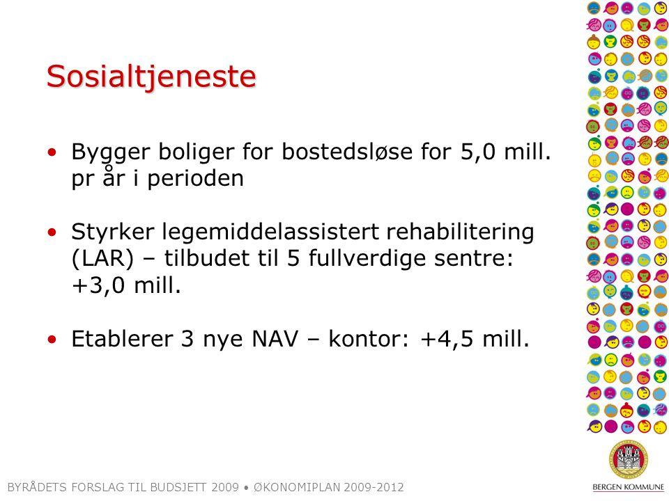 BYRÅDETS FORSLAG TIL BUDSJETT 2009 ØKONOMIPLAN 2009-2012 Sosialtjeneste Bygger boliger for bostedsløse for 5,0 mill. pr år i perioden Styrker legemidd