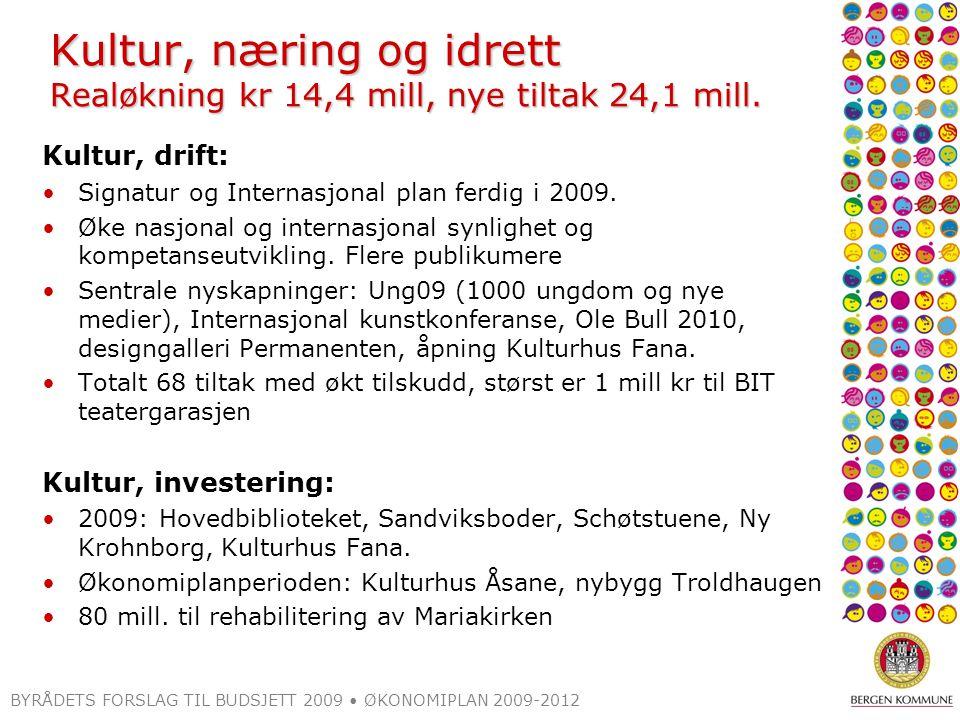 BYRÅDETS FORSLAG TIL BUDSJETT 2009 ØKONOMIPLAN 2009-2012 Kultur, næring og idrett Realøkning kr 14,4 mill, nye tiltak 24,1 mill.