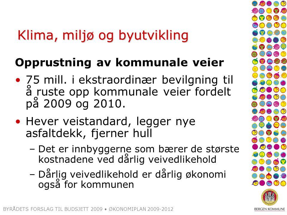 BYRÅDETS FORSLAG TIL BUDSJETT 2009 ØKONOMIPLAN 2009-2012 Klima, miljø og byutvikling Opprustning av kommunale veier 75 mill.