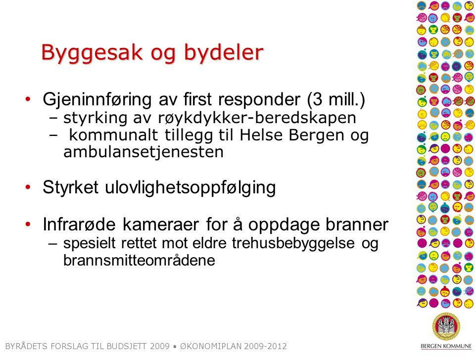 BYRÅDETS FORSLAG TIL BUDSJETT 2009 ØKONOMIPLAN 2009-2012 Byggesak og bydeler Gjeninnføring av first responder (3 mill.) –styrking av røykdykker-bereds