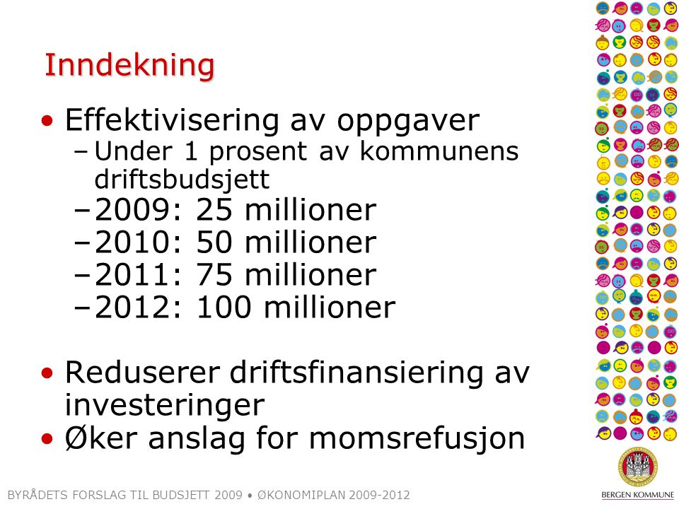 BYRÅDETS FORSLAG TIL BUDSJETT 2009 ØKONOMIPLAN 2009-2012 Inndekning Effektivisering av oppgaver –Under 1 prosent av kommunens driftsbudsjett –2009: 25