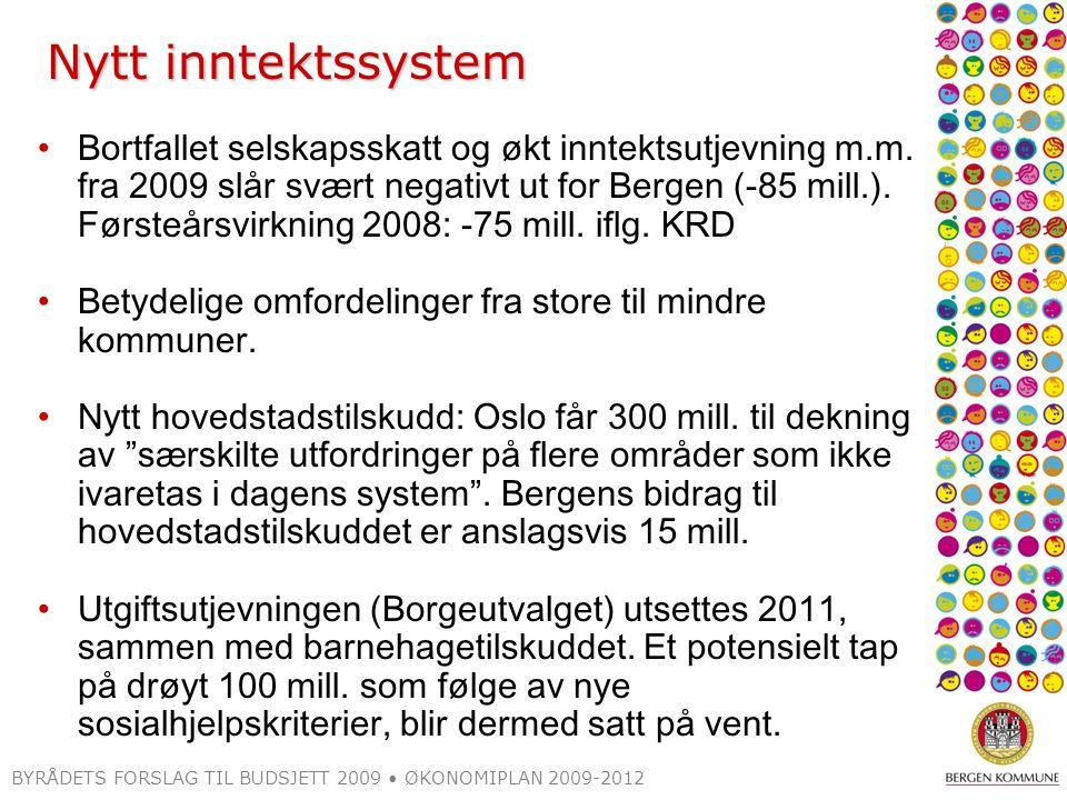 Nytt inntektssystem Bortfallet selskapsskatt og økt inntektsutjevning m.m. fra 2009 slår svært negativt ut for Bergen (-85 mill.). Førsteårsvirkning 2