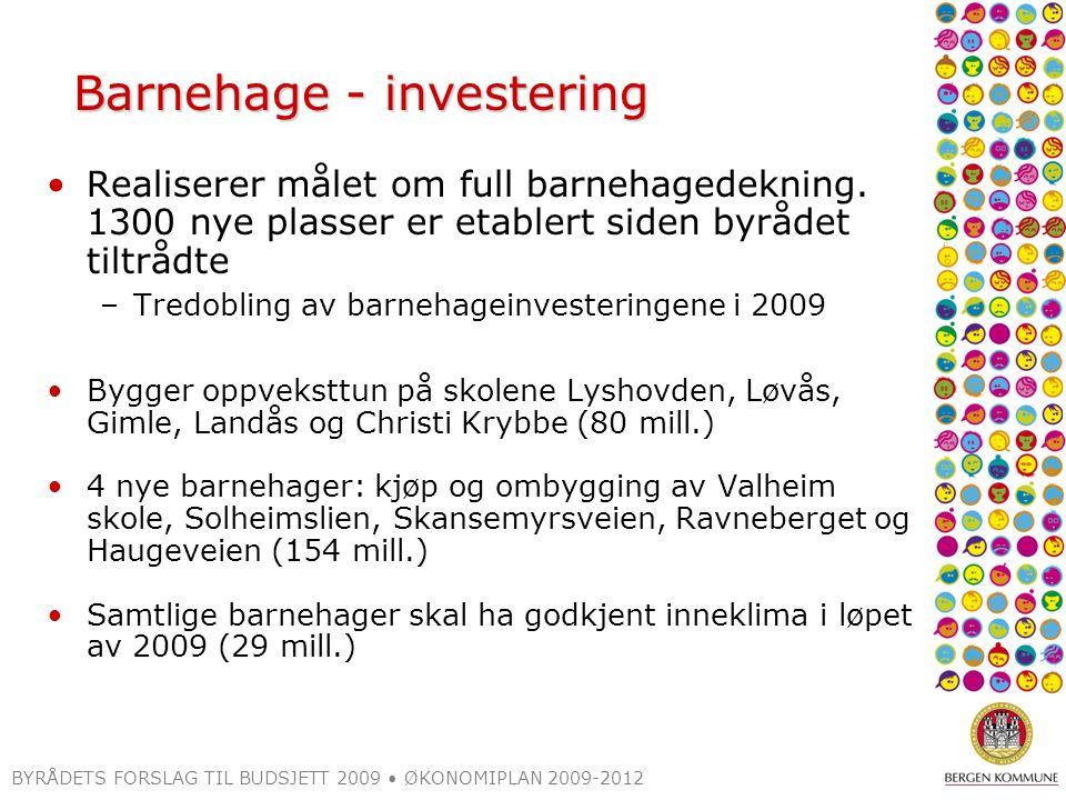BYRÅDETS FORSLAG TIL BUDSJETT 2009 ØKONOMIPLAN 2009-2012 Barnehage - investering Realiserer målet om full barnehagedekning.