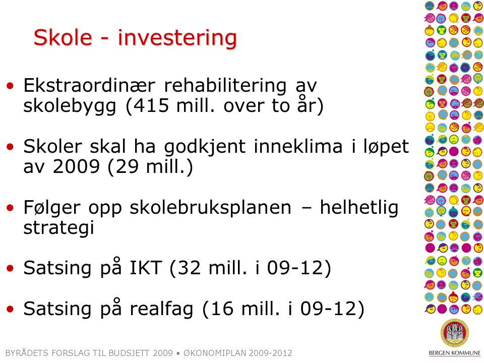 BYRÅDETS FORSLAG TIL BUDSJETT 2009 ØKONOMIPLAN 2009-2012 Skole - investering Ekstraordinær rehabilitering av skolebygg (415 mill.