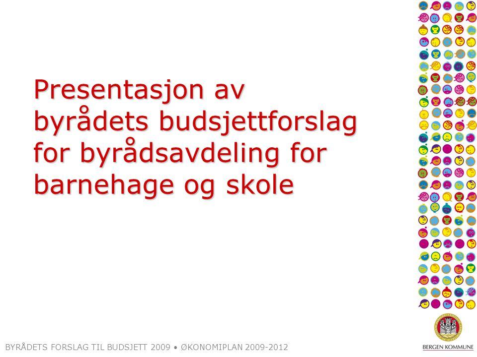 BYRÅDETS FORSLAG TIL BUDSJETT 2009 ØKONOMIPLAN 2009-2012 Skolestrukturtiltak 2009 Tunes lagt ned (1,3) Holen/Håstein – en resultatenhet (bystyret november) Forslag om å legge ned Samdal (0,7) Ytre-Arna: samle aktiviteten på hovedskolen (0,1) Oppveksttun Løvås/Lyshovden (1,3) Oppveksttun Gimle (0,2) = avrundet 3,5 mill.