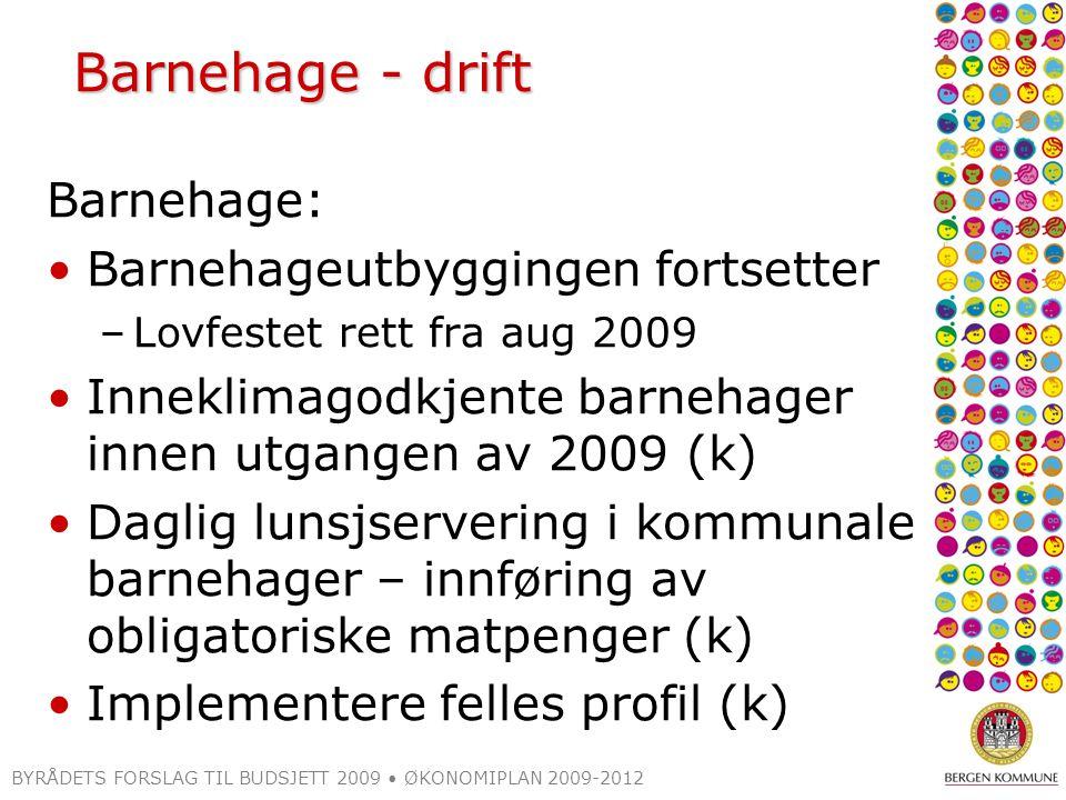 BYRÅDETS FORSLAG TIL BUDSJETT 2009 ØKONOMIPLAN 2009-2012 Prosjekter som kan gjennomføres i 2009-2012 Ekstraordinær rehabilitering av skolebygg (2009-2010) –Plan over hvilke skoler fremlegges til nyttår ISB-paviljong (2009) Indre Sædal 1.bgtr (2010) Ådnamarka (2009) Tveiterås, rehab/inneklima (2009) Garnes bsk (Tunes) (2009) Minde, mindre tiltak (2009) Søråshøgda (2010) Ny-Krohnborg (2011) Alvøen, trafikale forhold (2010) Paviljonger Nattland, Hellen og Landås (avlastningsskole) (2009) Inneklimagodkjenning (ekskl.