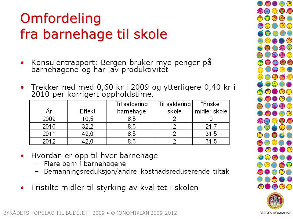 BYRÅDETS FORSLAG TIL BUDSJETT 2009 ØKONOMIPLAN 2009-2012 Omfordeling fra barnehage til skole Konsulentrapport: Bergen bruker mye penger på barnehagene og har lav produktivitet Trekker ned med 0,60 kr i 2009 og ytterligere 0,40 kr i 2010 per korrigert oppholdstime.