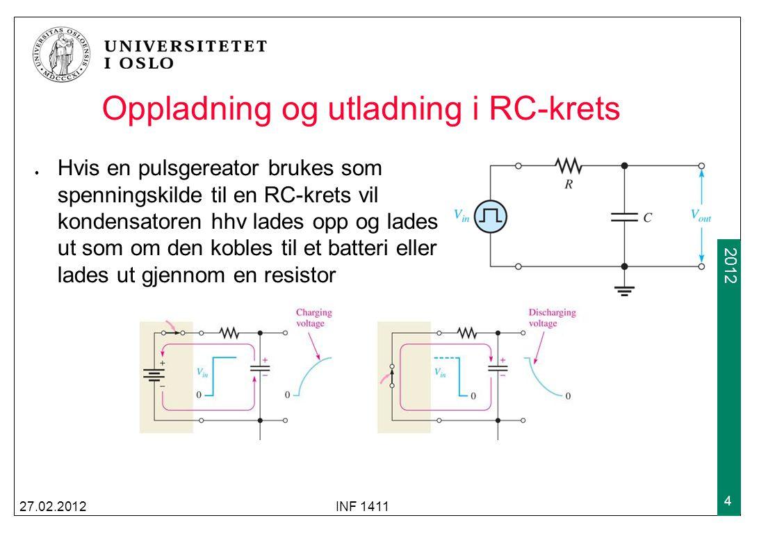 2009 2012 Oppladning og utladning i RC-krets Hvis en pulsgereator brukes som spenningskilde til en RC-krets vil kondensatoren hhv lades opp og lades ut som om den kobles til et batteri eller lades ut gjennom en resistor 27.02.2012INF 1411 4
