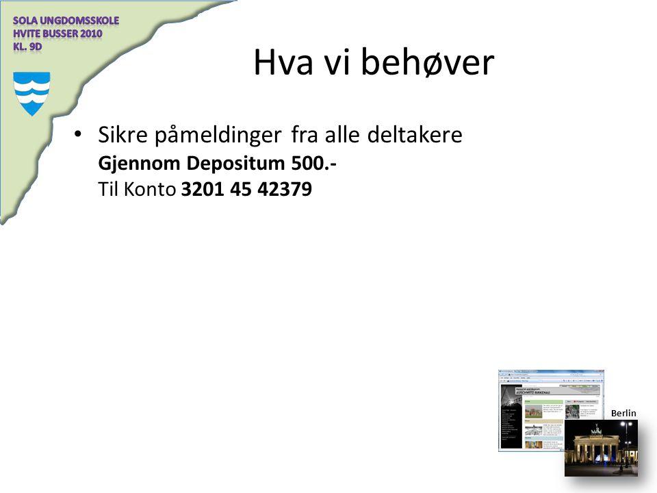 Hva vi behøver Sikre påmeldinger fra alle deltakere Gjennom Depositum 500.- Til Konto 3201 45 42379 Berlin