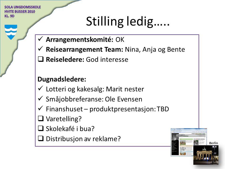 Stilling ledig….. Arrangementskomité: OK Reisearrangement Team: Nina, Anja og Bente  Reiseledere: God interesse Dugnadsledere: Lotteri og kakesalg: M