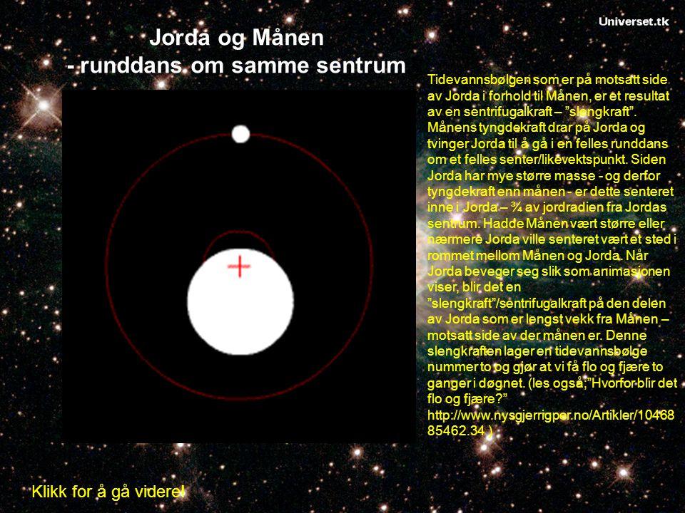 Jorda og Månen - runddans om samme sentrum Tidevannsbølgen som er på motsatt side av Jorda i forhold til Månen, er et resultat av en sentrifugalkraft