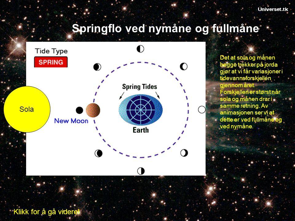 Sola Springflo ved nymåne og fullmåne Det at sola og månen begge trekker på jorda gjør at vi får variasjoner i tidevannsforskjellen gjennom året. Fors
