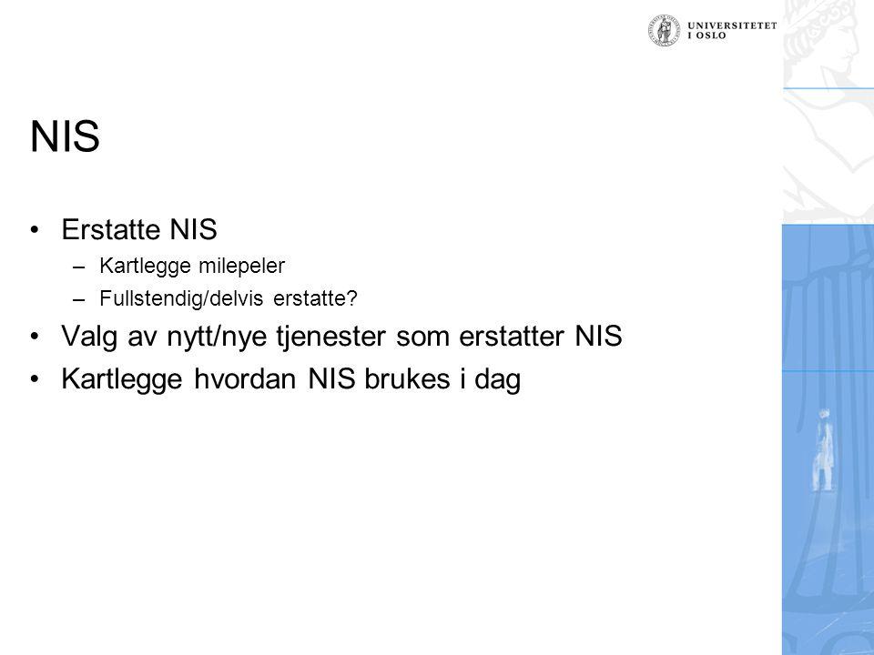 NIS Erstatte NIS –Kartlegge milepeler –Fullstendig/delvis erstatte? Valg av nytt/nye tjenester som erstatter NIS Kartlegge hvordan NIS brukes i dag