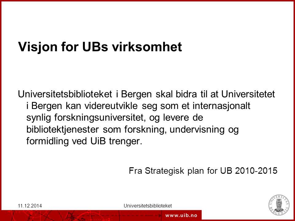 Virksomhetside Universitetsbiblioteket har som overordnet mål å bidra til å høyne kvaliteten på den forskning, undervisning og formidling som foregår ved Universitetet i Bergen, og bistå i å videreutvikle det totale faglige og pedagogiske tilbudet ved Universitetet i Bergen i samarbeid med fagmiljøene og øvrige avdelinger ved UiB.