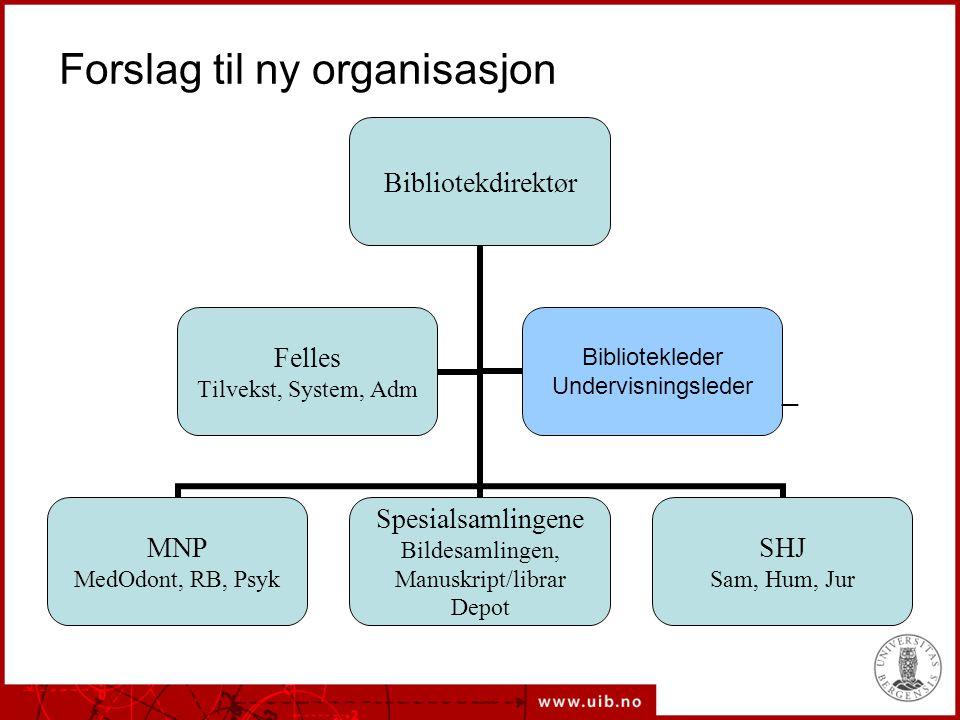 Forslag til ny organisasjon