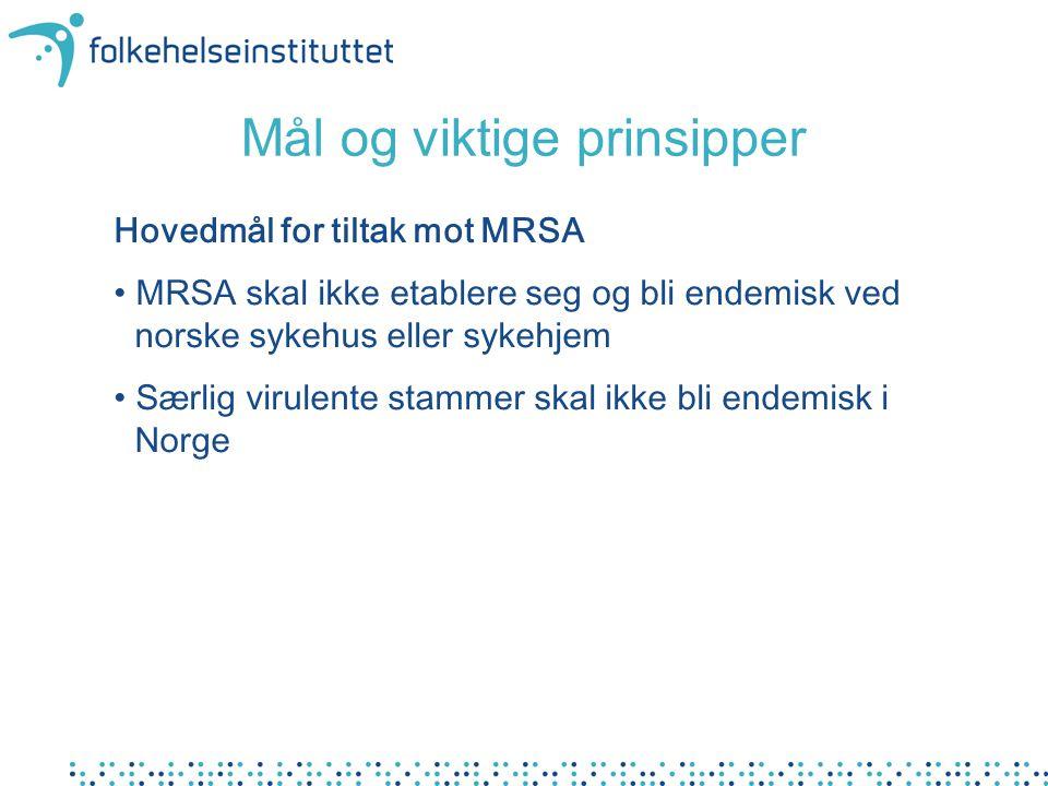 Hovedmål for tiltak mot MRSA MRSA skal ikke etablere seg og bli endemisk ved norske sykehus eller sykehjem Særlig virulente stammer skal ikke bli endemisk i Norge Mål og viktige prinsipper