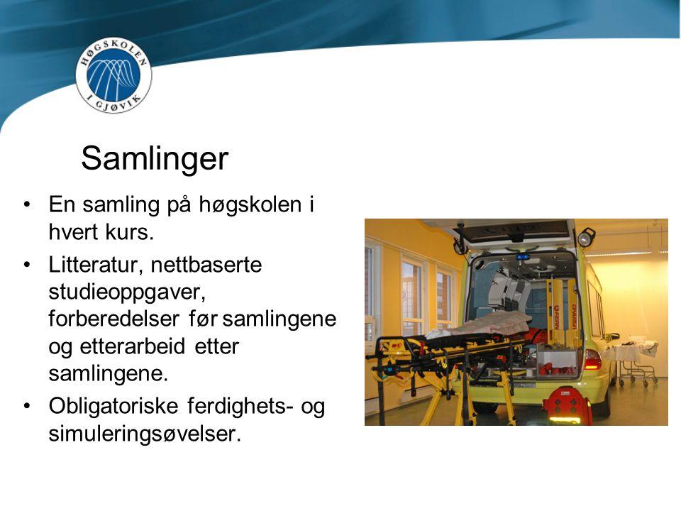 Samlinger En samling på høgskolen i hvert kurs. Litteratur, nettbaserte studieoppgaver, forberedelser før samlingene og etterarbeid etter samlingene.