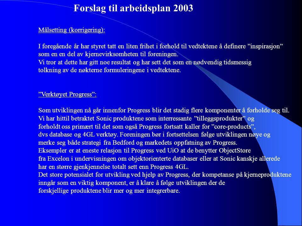Forslag til arbeidsplan 2003 Målsetting (korrigering): I foregående år har styret tatt en liten frihet i forhold til vedtektene å definere inspirasjon som en en del av kjernevirksomheten til foreningen.