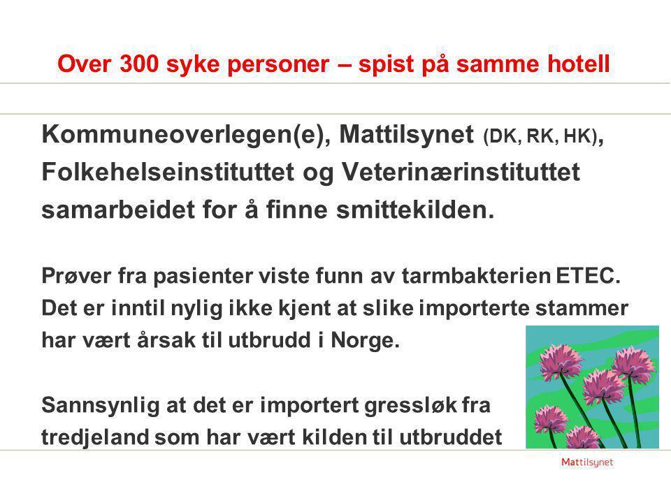 Over 300 syke personer – spist på samme hotell Kommuneoverlegen(e), Mattilsynet (DK, RK, HK), Folkehelseinstituttet og Veterinærinstituttet samarbeide