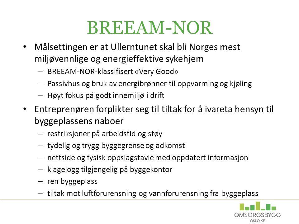 BREEAM-NOR Målsettingen er at Ullerntunet skal bli Norges mest miljøvennlige og energieffektive sykehjem – BREEAM-NOR-klassifisert «Very Good» – Passi