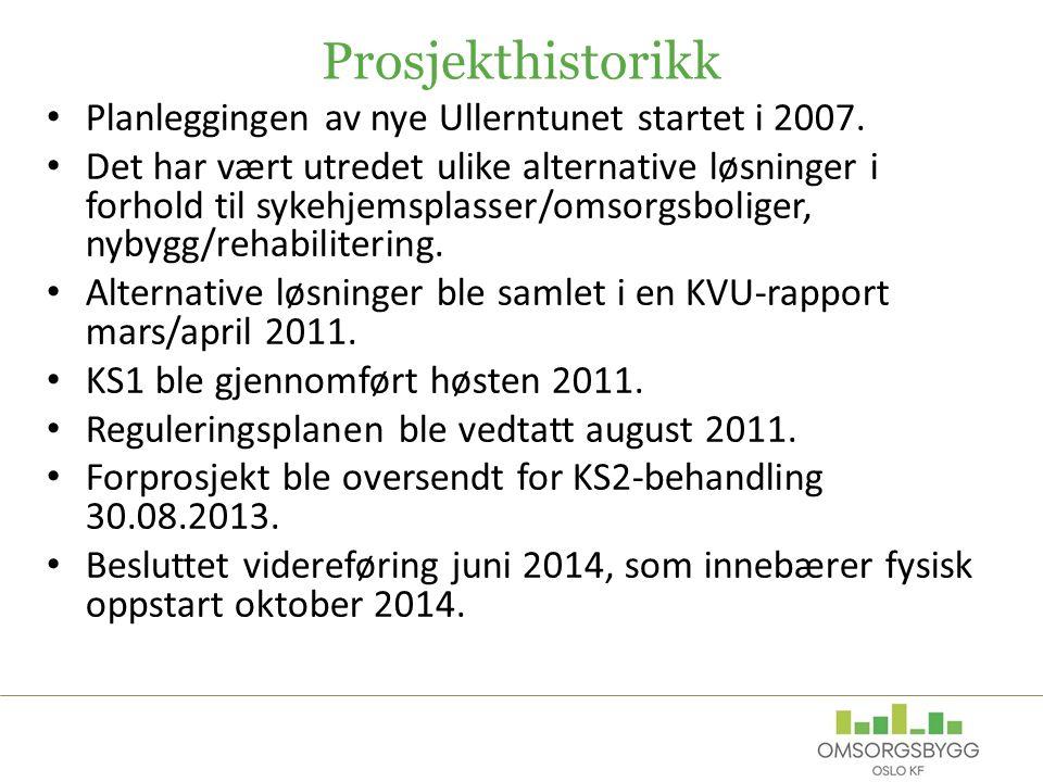 Prosjekthistorikk Planleggingen av nye Ullerntunet startet i 2007. Det har vært utredet ulike alternative løsninger i forhold til sykehjemsplasser/oms