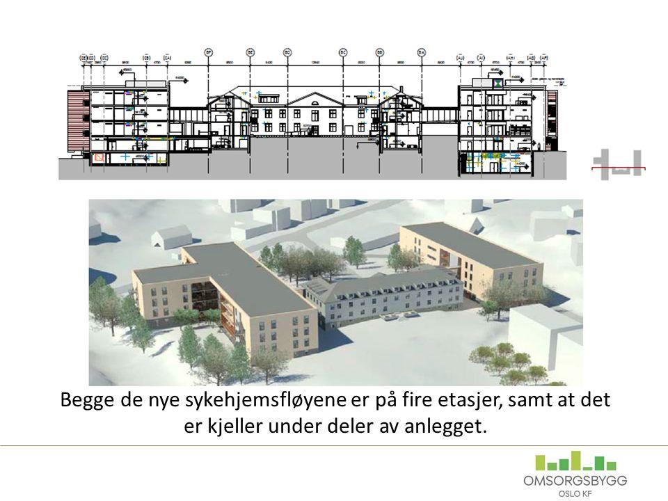 Siste fasade legges inn Begge de nye sykehjemsfløyene er på fire etasjer, samt at det er kjeller under deler av anlegget.