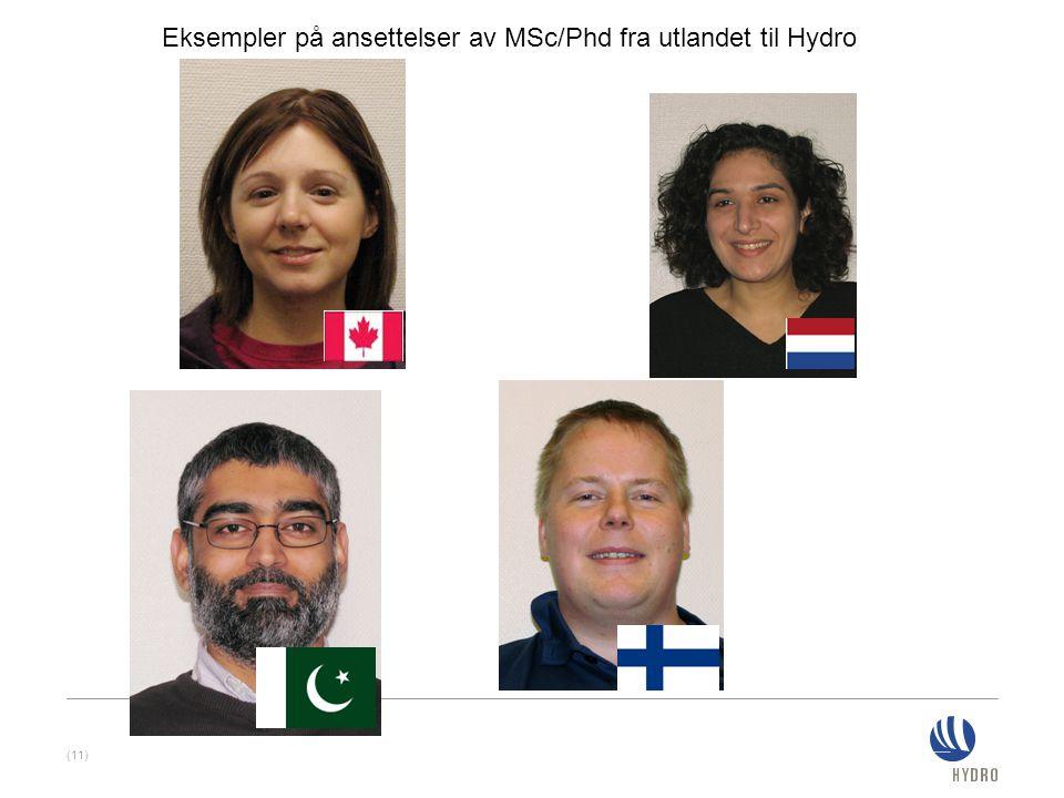 (11) Eksempler på ansettelser av MSc/Phd fra utlandet til Hydro