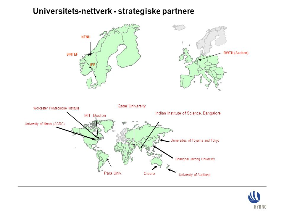 Universitets-nettverk - strategiske partnere Worcester Polytecnique Institute Universities of Toyama and Tokyo Qatar University Indian Institute of Science, Bangalore MIT, Boston IFE SINTEF Cisero Shanghai Jiatong University University of Illinois (ACRC) University of Auckland Para Univ.