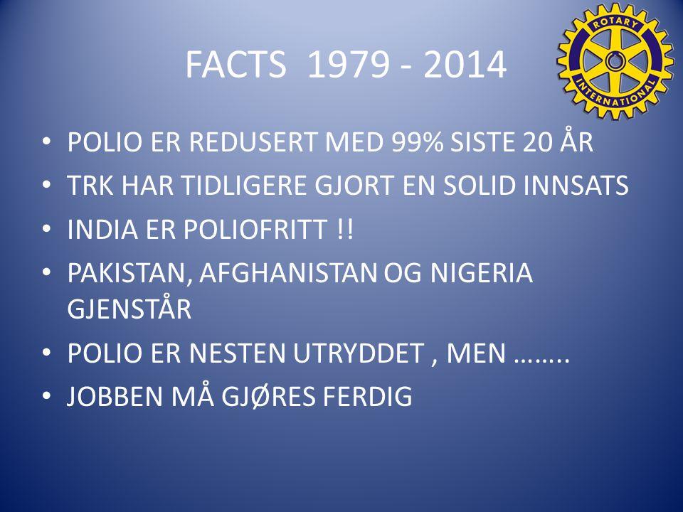 FACTS 1979 - 2014 POLIO ER REDUSERT MED 99% SISTE 20 ÅR TRK HAR TIDLIGERE GJORT EN SOLID INNSATS INDIA ER POLIOFRITT !.