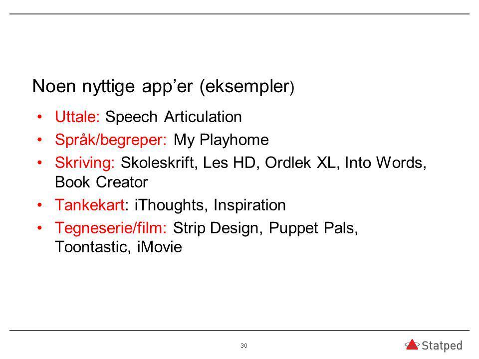 Noen nyttige app'er (eksempler ) Uttale: Speech Articulation Språk/begreper: My Playhome Skriving: Skoleskrift, Les HD, Ordlek XL, Into Words, Book Cr