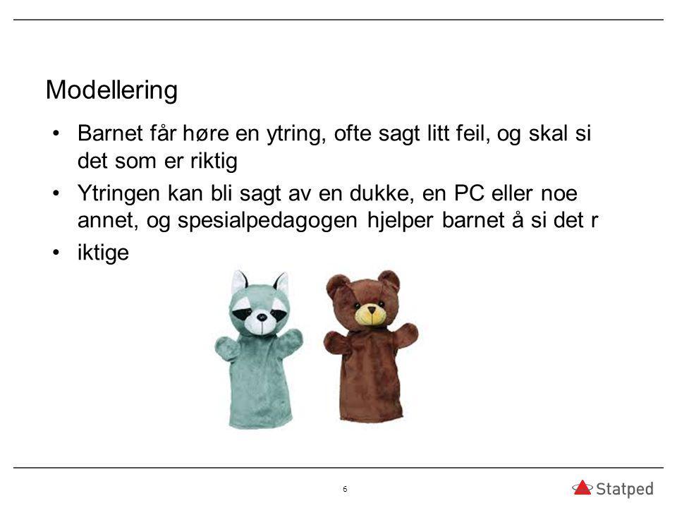 Modellering Barnet får høre en ytring, ofte sagt litt feil, og skal si det som er riktig Ytringen kan bli sagt av en dukke, en PC eller noe annet, og