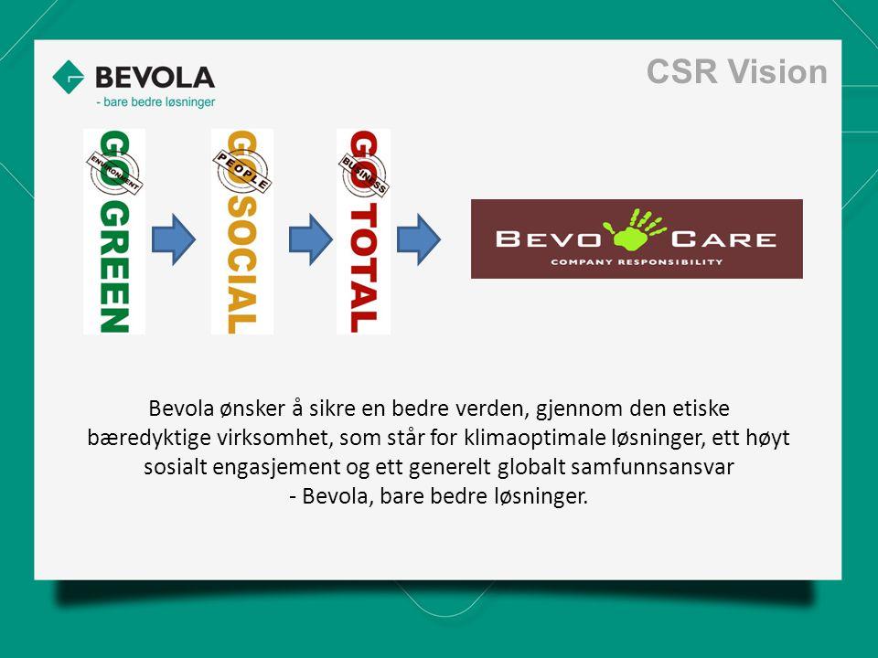 Bevola ønsker å sikre en bedre verden, gjennom den etiske bæredyktige virksomhet, som står for klimaoptimale løsninger, ett høyt sosialt engasjement og ett generelt globalt samfunnsansvar - Bevola, bare bedre løsninger.