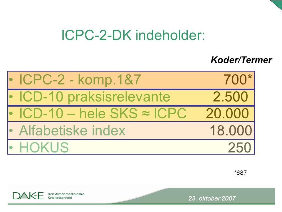 23. oktober 2007 ICPC-2 - komp.1&7 700* ICD-10 praksisrelevante 2.500 ICD-10 – hele SKS ≈ ICPC 20.000 Alfabetiske index 18.000 HOKUS 250 ICPC-2-DK ind