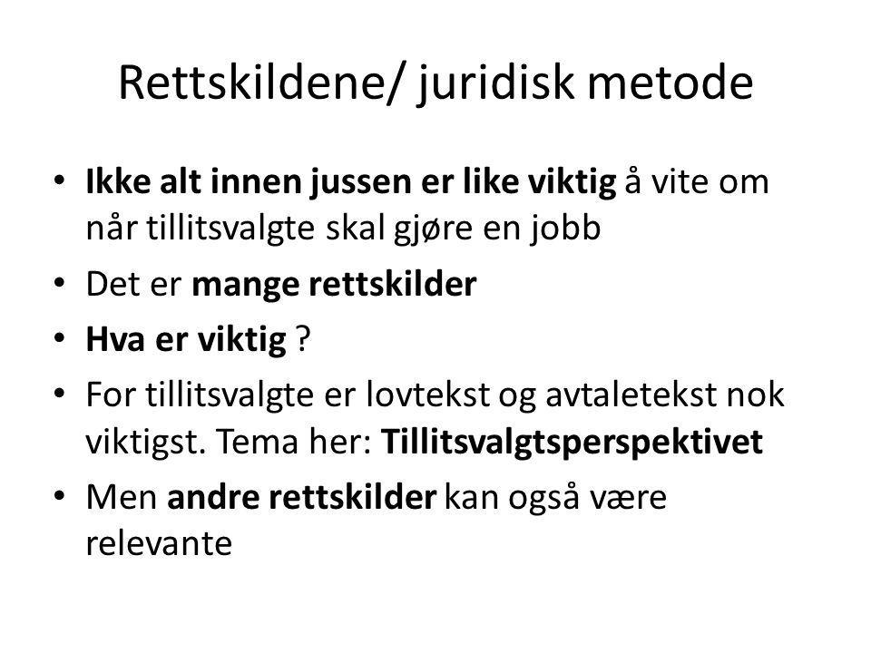 Kort om rettskildene Lovteksten/ Avtaleteksten Lovforarbeidene.