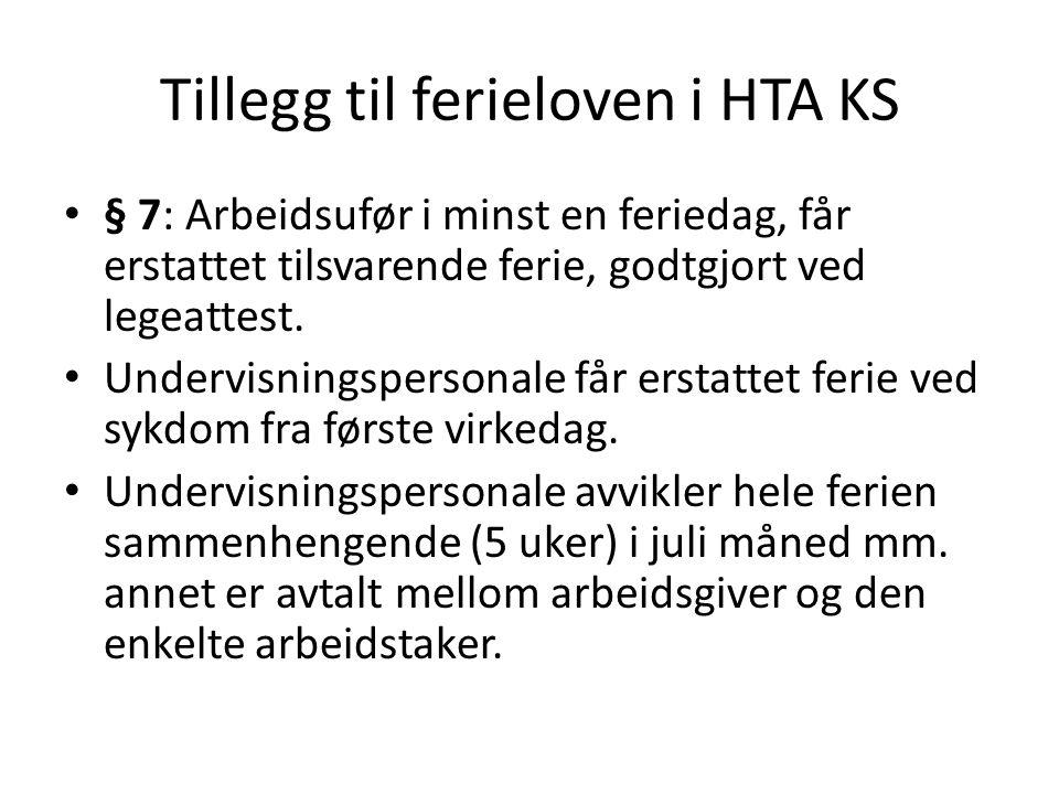 Tillegg til ferieloven i HTA KS § 7: Arbeidsufør i minst en feriedag, får erstattet tilsvarende ferie, godtgjort ved legeattest. Undervisningspersonal