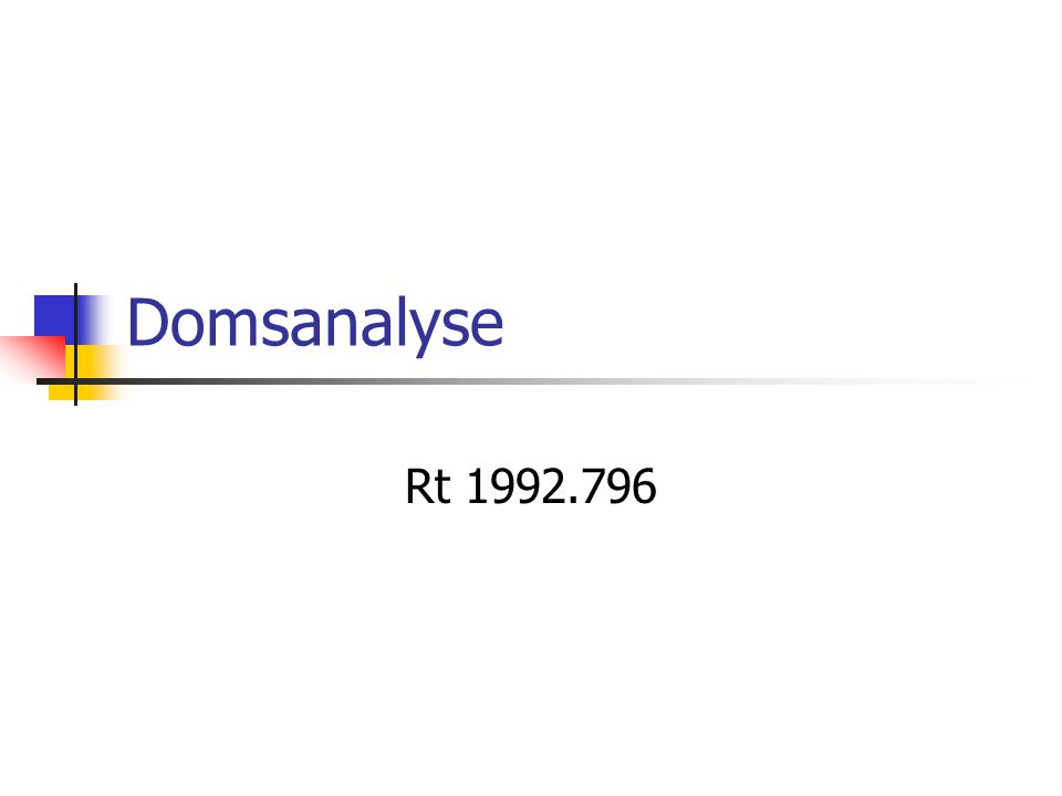 Domsanalyse Rt 1992.796
