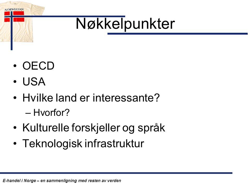 Nøkkelpunkter OECD USA Hvilke land er interessante? –Hvorfor? Kulturelle forskjeller og språk Teknologisk infrastruktur E-handel i Norge – en sammenli