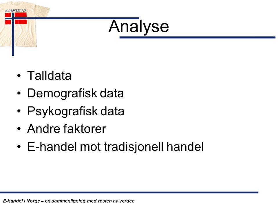 Analyse Talldata Demografisk data Psykografisk data Andre faktorer E-handel mot tradisjonell handel E-handel i Norge – en sammenligning med resten av