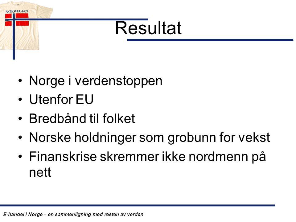Resultat Norge i verdenstoppen Utenfor EU Bredbånd til folket Norske holdninger som grobunn for vekst Finanskrise skremmer ikke nordmenn på nett E-han